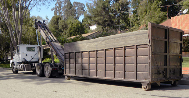 Trash dumpster delivered to residence in Rancho Palos Verdes (RPV)