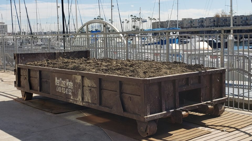 Lowboy dumpster filled with clean dirt in Marina Del Rey