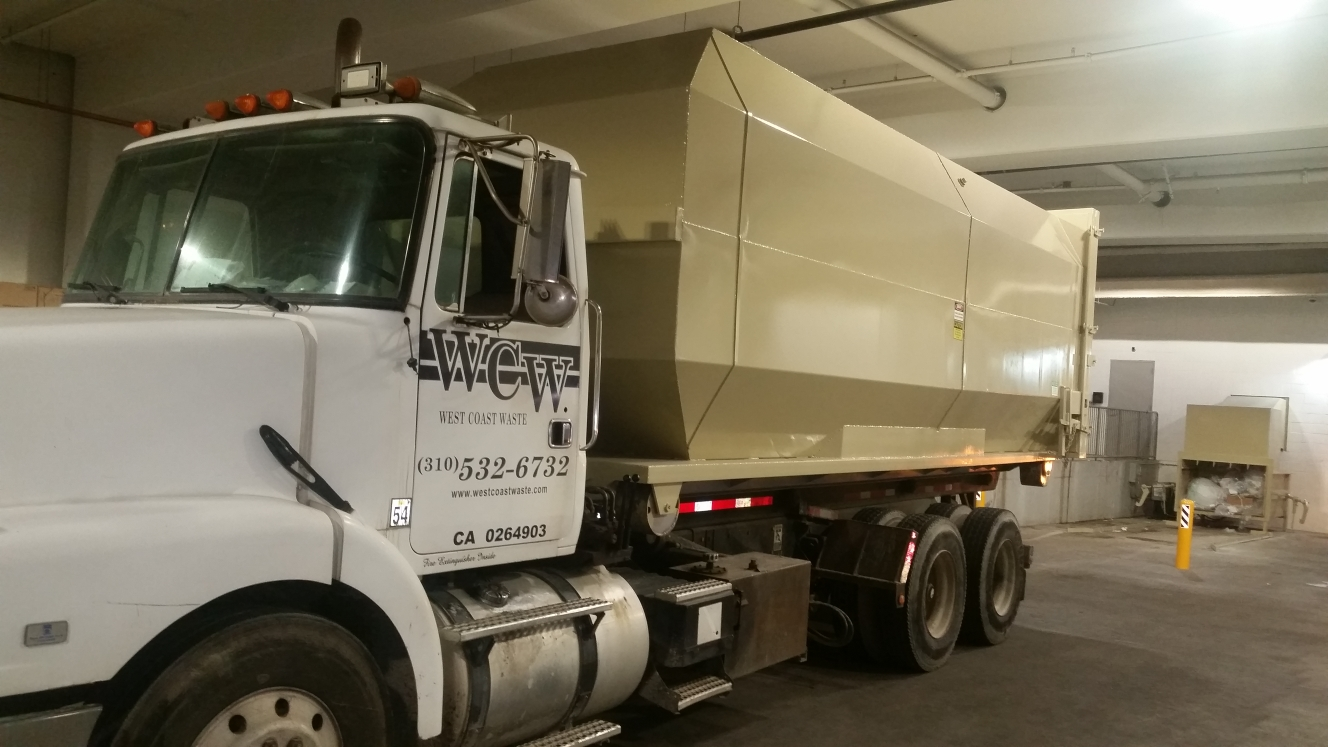 Trash compactor service. We load, dump and reinstall your compactor container at your facility.